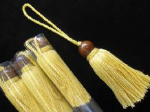 4  Yellow cotton key cushion tassel with wooden ball trim Curtain blind trimming
